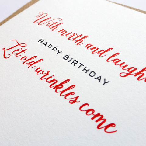 With Mirth and Laughter Shakespeare Birthday - Letterpress Typographic Card - product images  of