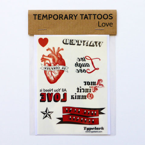 Temporary,Tattoos,-,Love,Temporary Tattoos, Temporary, Tattoos, typography, wanted, heart, love, el corazon, true love forever, all you need is love, red, black