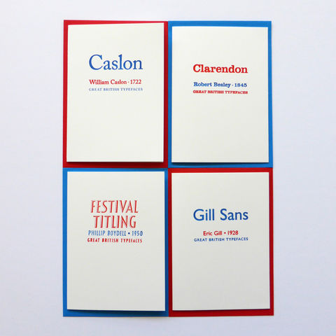 Great,British,Type,-,Letterpress,Typographic,4,Card,Set,designers, Caslon, Clarendon, Gill Sans, Festival Titling, red, white, blue, British, typography, type, greeting, Cards, greeting card
