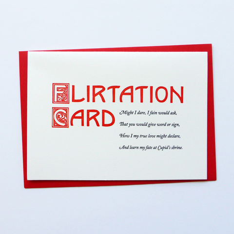 Flirtation,Card,-,Letterpress,Typographic,Valentine's, Flirtation, Love, letterpress, typography, type, black, red, Victorian, 19th Century, Nineteenth Century, Acquaintance Cards, greeting, Cards, greeting card