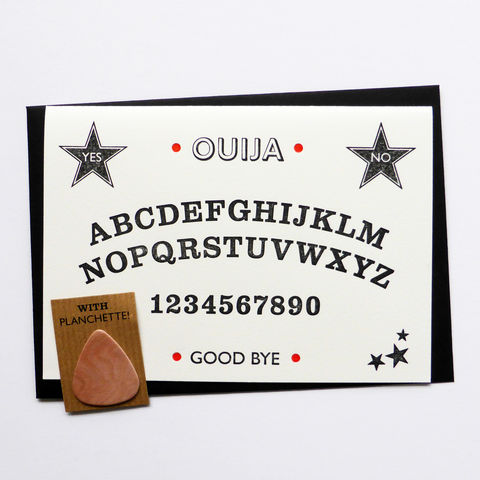 Ouija,Board,-,Letterpress,Typographic,Card, Ouija board, planchette, Hallowe'en, Halloween, greeting, Cards, greeting card, letterpress, typography, type, black, red, gothic, horror