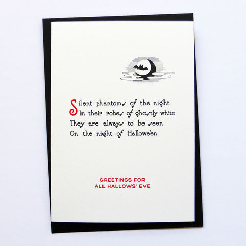 Silent,Phantoms:,Hallowe'en,-,Letterpress,Typographic,Card, Phantoms, Hallowe'en, Halloween, greeting, Cards, greeting card, letterpress, typography, type, British, black, red, gothic, horror