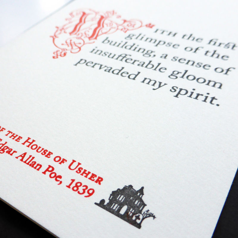 The Fall of the House of Usher: Poe - Letterpress Typographic Card - product images  of