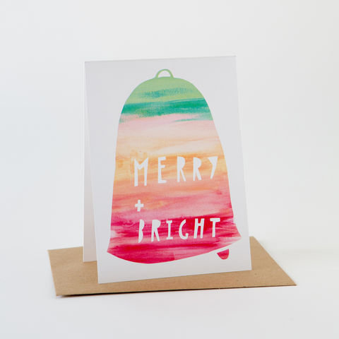 Holiday,Paint,Card-,Merry,+,Bright,Greeting Card, Holiday Card