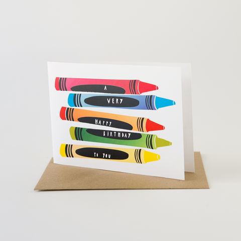 Papercut,Card-,Happy,Birthday,Crayons,Greeting Card, Birthday Card