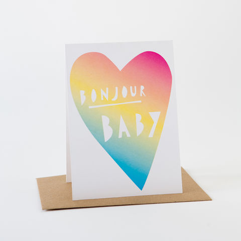 Papercut,Card-,Bonjour,Baby,Greeting Card