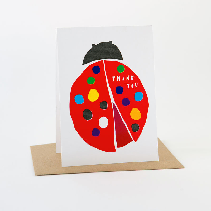 Papercut Card- Thank You Ladybug  - product images