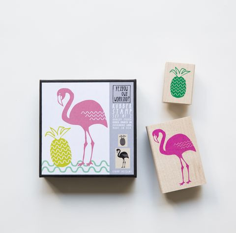 Flamingo,Pineapple,Stamp,Set,stamps, flamingo, pineapple