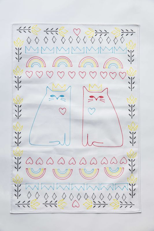 Cat Love Tea Towel Stencil Kit - product images  of