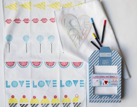 Sweet,Tea,Towel,Stencil,Kit,stencil kit, tea towels, heart, candy