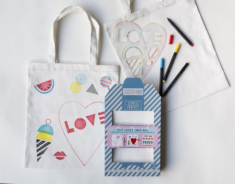 Sweet,Tote,Stencil,Kit,stencil kit, tote bag, heart, candy