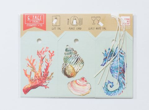 Sea,Life,Gift,Tag,gift tags, sea life, shells, sea horse, coral, sea weed, squid