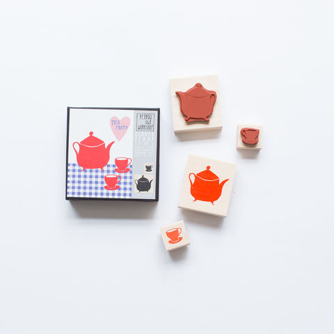 Tea,Party,Stamp,Set,stamp set, stamp, tea party, tea set, tea pot, tea cup