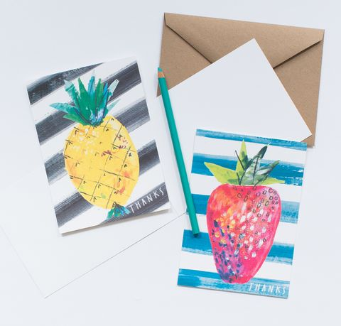Sketch,Thank,You,Fruits,card set, cards, strawberry, pineapple, fruit