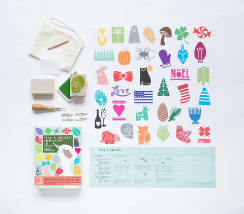 Year,of,Holidays,Carve-A-Stamp,Kit,carve-a-stamp kit, stamp, kit, holidays, green, DIY