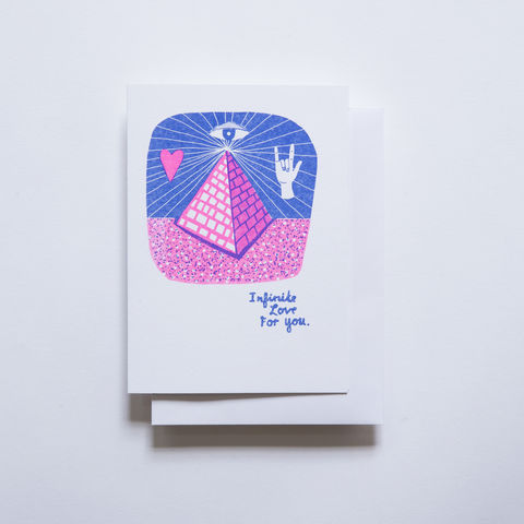 Risograph,Card,-,Infinite,Love,Pyramid,risograph, riso, greeting card, risograph card, yellow owl workshop, Christine Schmidt, love card, valentines day card, love