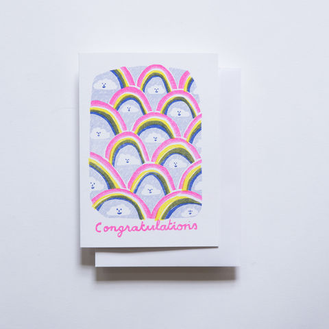 Risograph,Card,-,Congratulations,Clouds,risograph, riso, greeting card, risograph card, yellow owl workshop, Christine Schmidt, congrats, congratulations, clouds, rainbows