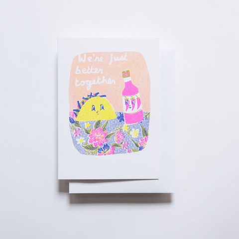 Risograph,Card,-,Better,Together,Taco,risograph, riso, greeting card, risograph card, yellow owl workshop, Christine Schmidt, taco card, love card, valentines day card, better together