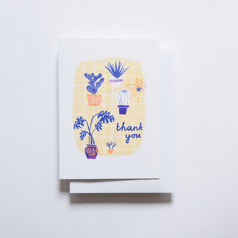 Risograph,Card,-,Many,Thanks,Plants,risograph, riso, greeting card, risograph card, yellow owl workshop, Christine Schmidt, thank you card, many thanks, plant cards
