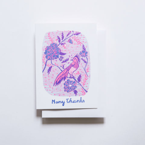 Risograph,Card,-,Many,Thanks,Bird,risograph, riso, greeting card, risograph card, yellow owl workshop, Christine Schmidt, thank you card, many thanks, bird card