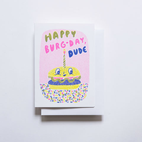 Risograph,Card,-,Burger,Birthday,risograph, riso, greeting card, risograph card, yellow owl workshop, Christine Schmidt, birthday card, burger card, birthday burger