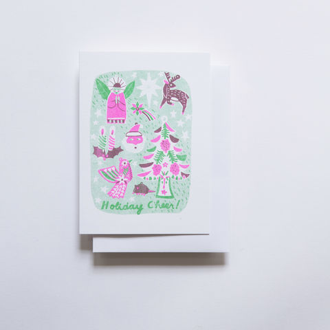 Risograph,Card,-,Holiday,Cheer,risograph, riso, greeting card, risograph card, yellow owl workshop, Christine Schmidt, holiday card, christmas card, holiday cheer