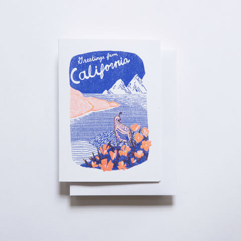 Risograph,Card,-,Greetings,From,California,risograph, riso, greeting card, risograph card, yellow owl workshop, Christine Schmidt, California card, greetings from CA