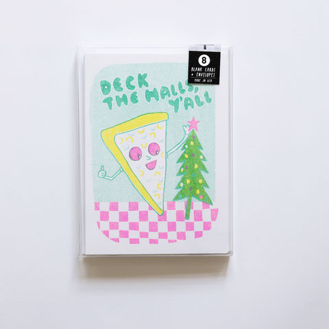Risograph,Deck,The,Halls,Pizza,Card,Set,risograph, riso, greeting card, risograph card, yellow owl workshop, Christine Schmidt, card set, card set of 8, holiday card set, pizza card, deck the halls