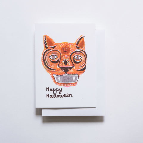 Risograph,Card,-,Happy,Halloween,risograph, riso, greeting card, risograph card, yellow owl workshop, Christine Schmidt, halloween card, halloween cat