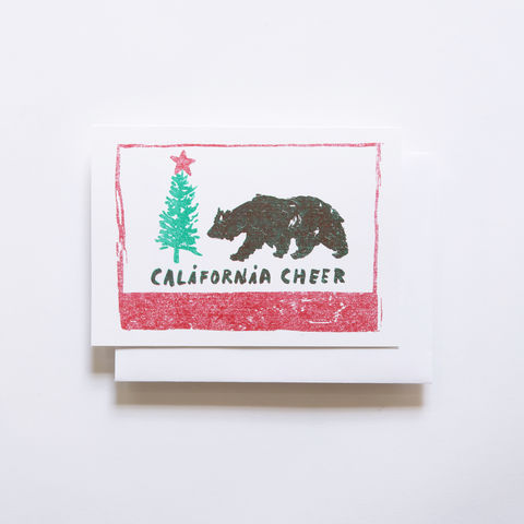 Risograph,Card,-,California,Cheer,risograph, riso, greeting card, risograph card, yellow owl workshop, Christine Schmidt, cali cheer, california cheer card, holiday card, california flag card