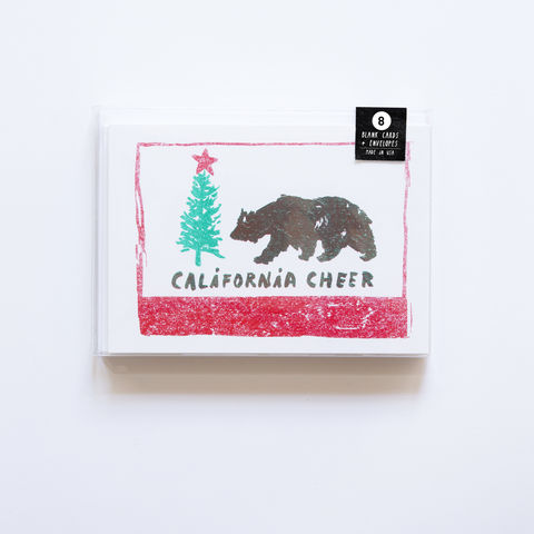 Risograph,California,Cheer,Card,Set,risograph, riso, greeting card, risograph card, yellow owl workshop, Christine Schmidt, card set, card set of 8, Califorina Cheer Card Set, California Card Set, cali cheer