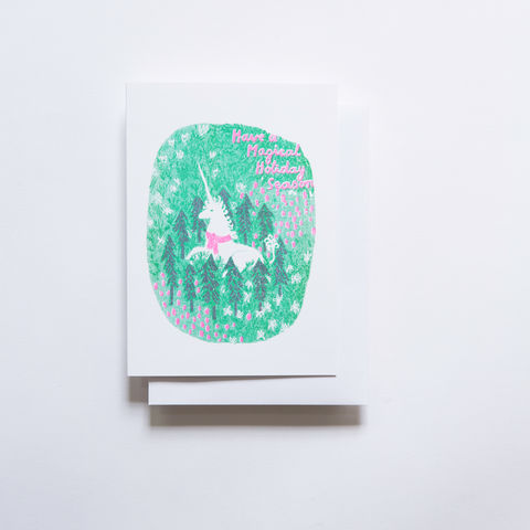Risograph,Card,-,Magical,Holiday,Unicorn,risograph, riso, greeting card, risograph card, yellow owl workshop, Christine Schmidt, holiday card, unicorn card, magical holiday card
