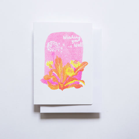 Risograph,Card,-,Wishing,You,Well,risograph, riso, greeting card, risograph card, yellow owl workshop, Christine Schmidt, wish you well card, get well card