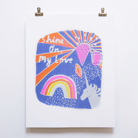 Risograph,Print,-,Shine,On,My,Love,risograph, riso, print, art print, riso print, yellow owl workshop, christine schmidt, shine on my love, unicorn, rainbow, diamonds, love print, valentines day gift, home decor