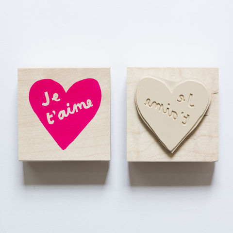 Heart,Je,T'aime,Stamp, Je T'aime, Heart, Yellow Owl Workshop, Christine Schmidt, Craft, DIY, Stamping, Rubber Stamp, French