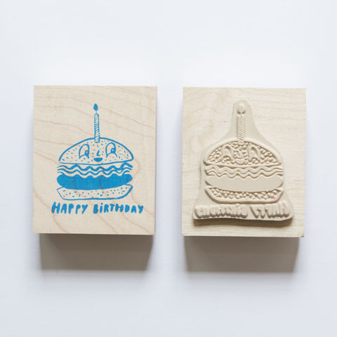 Burger,Birthday,Stamp, birthday, burger, hamburger, food, Yellow Owl Workshop, Christine Schmidt, Craft, DIY, Stamping, Rubber Stamp