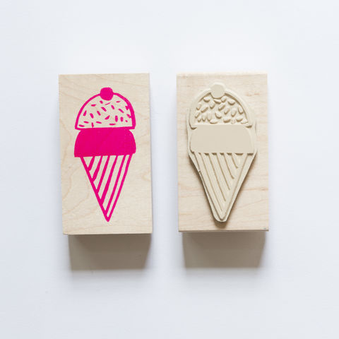 Ice,Cream,Cone,Stamp, Ice Cream Cone, Yellow Owl Workshop, Christine Schmidt, Craft, DIY, Stamping, Rubber Stamp