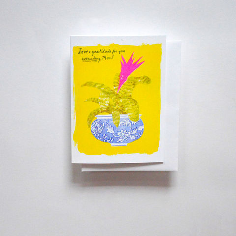 Risograph,Card,-,Love,Gratitude,,Mother's,Day,risograph, riso, greeting card, risograph card, yellow owl workshop, Christine Schmidt, Mothers day card, Love card, gratitude card, bromeliad card