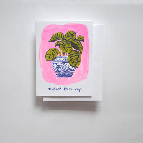 Risograph,Card,-,Merci,Beaucoup,Plant,risograph, riso, greeting card, risograph card, yellow owl workshop, Christine Schmidt, thank you card, merci beaucoup card, french card, plant card