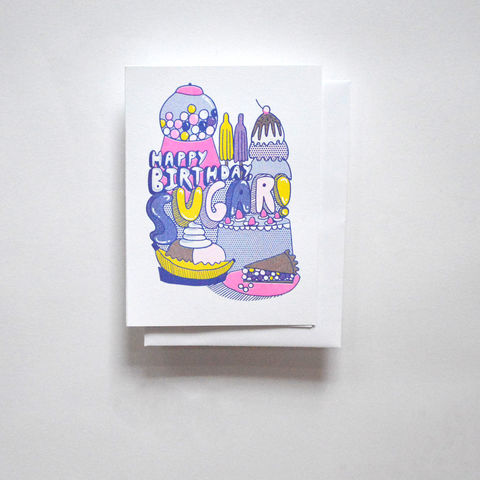 Risograph,Card,-,Happy,Birthday,Sugar,risograph, riso, greeting card, risograph card, yellow owl workshop, Christine Schmidt, birthday card, happy birthday card, happy brithday sugar, sweets card, sugar card