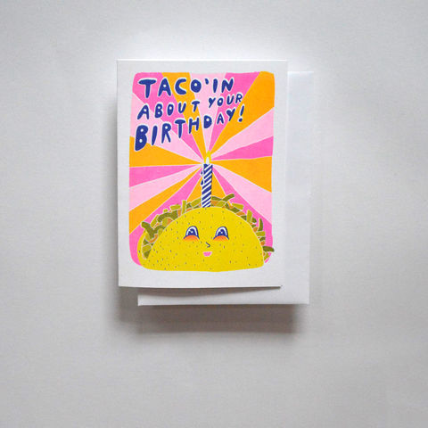 Risograph,Card,-,Taco,Birthday,risograph, riso, greeting card, risograph card, yellow owl workshop, Christine Schmidt, birthday card, happy birthday card, taco card, taco birthday card, taco'in about your birtday