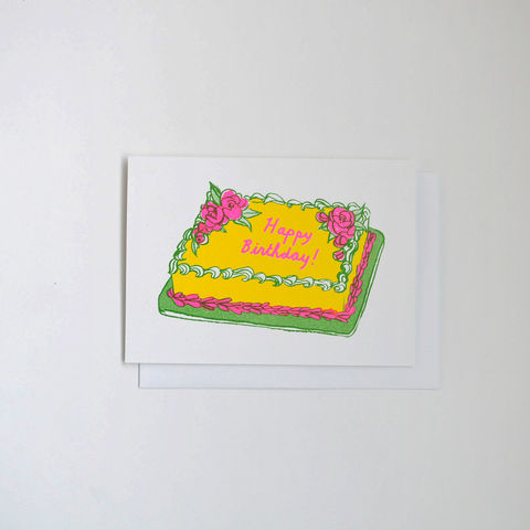 Risograph,Card,-,Happy,Birthday,Cake,risograph, riso, greeting card, risograph card, yellow owl workshop, Christine Schmidt, birthday card, happy birthday card, birthday cake, birthday cake card, happy birthday cake card