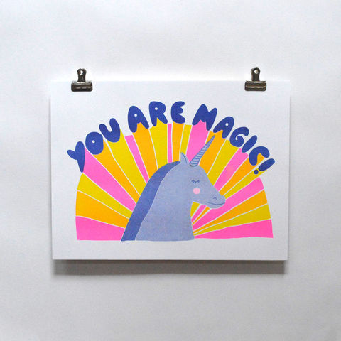 Risograph,Print,-,You,Are,Magic,risograph, riso print, risograph print, art print, wall art, Yellow Owl Workshop, Christine Schmidt, you are magic print, uniforn print, rainbow unicorn print magic print