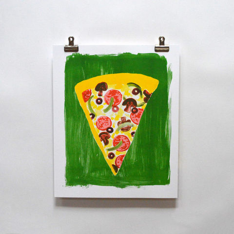 Risograph,Print,-,Pizza,risograph, riso print, risograph print, art print, wall art, Yellow Owl Workshop, Christine Schmidt, Pizza print, pizza art, pizza, food print, food art