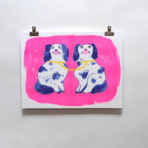Risograph,Print,-,Dogs,risograph, riso print, risograph print, art print, wall art, Yellow Owl Workshop, Christine Schmidt, Dogs prints, 2 dog prints, dog friends prints, friendship print