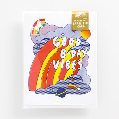 Good,Birthday,Vibes,Lapel,Pin,Card,birthday card, birthday, good vibes, lapel pin, card, greeting card, unicorn, rainbow
