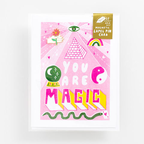 You,Are,Magic,Lapel,Pin,Card,magic, lapel pin, lapel pin card, hand, flower, card, greeting card