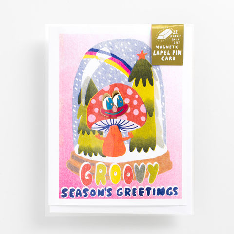 Groovy,Season's,Greeting,Lapel,Pin,Card,holiday, christmas, lapel pin, lapel pin card, greeting card, card, season's greeting, funny face, cartoon face