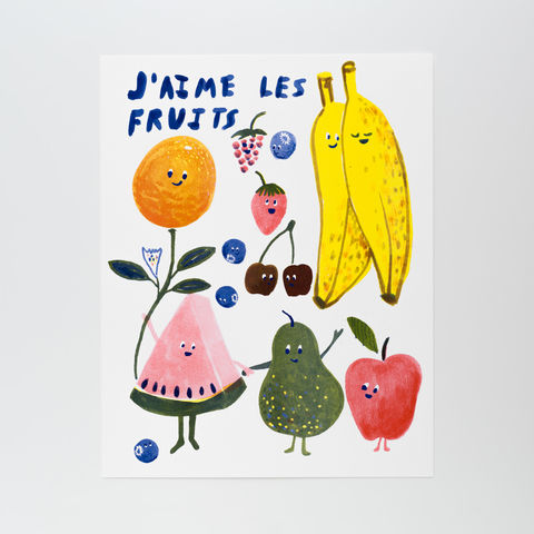 J'aime,Les,Fruits,-,Risograph,Print,risograph, riso, print, art, art print, printmaking, fruit, french