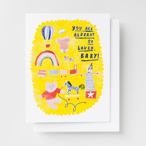You,Are,So,Loved,,Baby,-,Risograph,Card,baby, congratulations, greeting card, card, love, risograph, riso